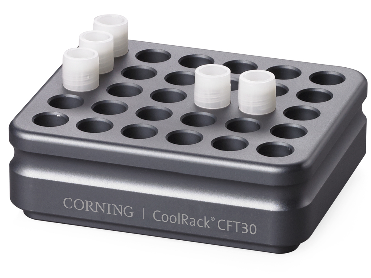 corning coolrack cft30 holds 30 cryogenic vials or facs tubes with