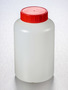 Corning® Gosselin™ Round HDPE Bottle, 1 L, 58 mm Red Cap with Wad, Assembled, 68/Case