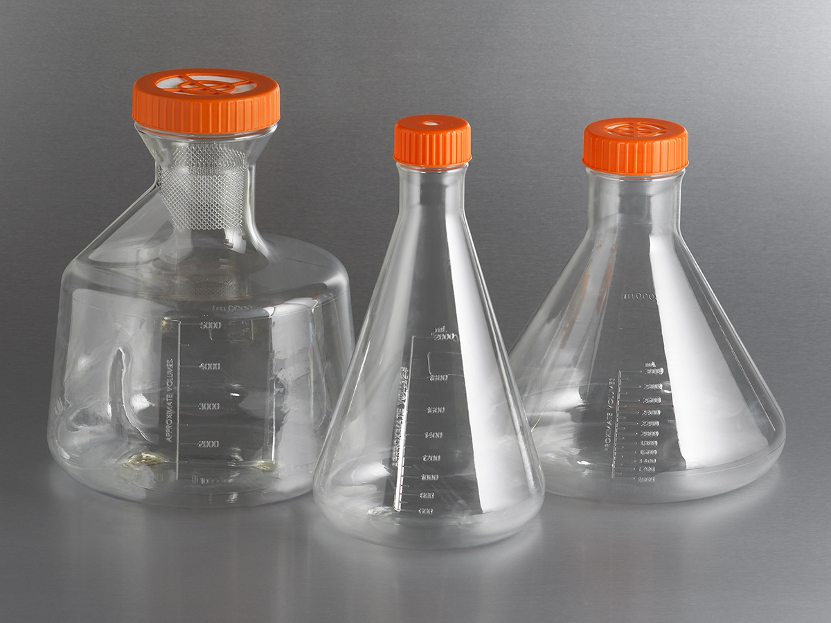 Corning® 5 L Baffled PETG Erlenmeyer Flask with Vent Cap