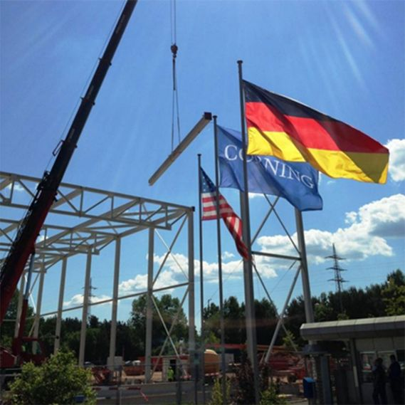 Germany, Corning Incorporated, United Stated of America flags