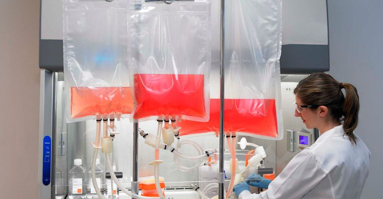 Scientist working with bioprocessing products