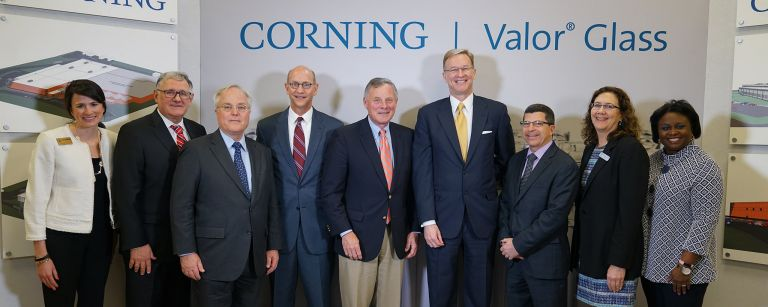 Government and business leaders join Corning in celebrating its investment in North Carolina.