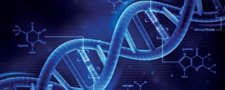 Extreme signature closeup of stands of DNA in blue hues