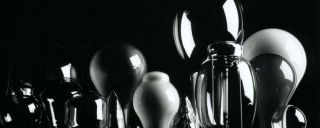 Various glass devices, objects in stark black-white image