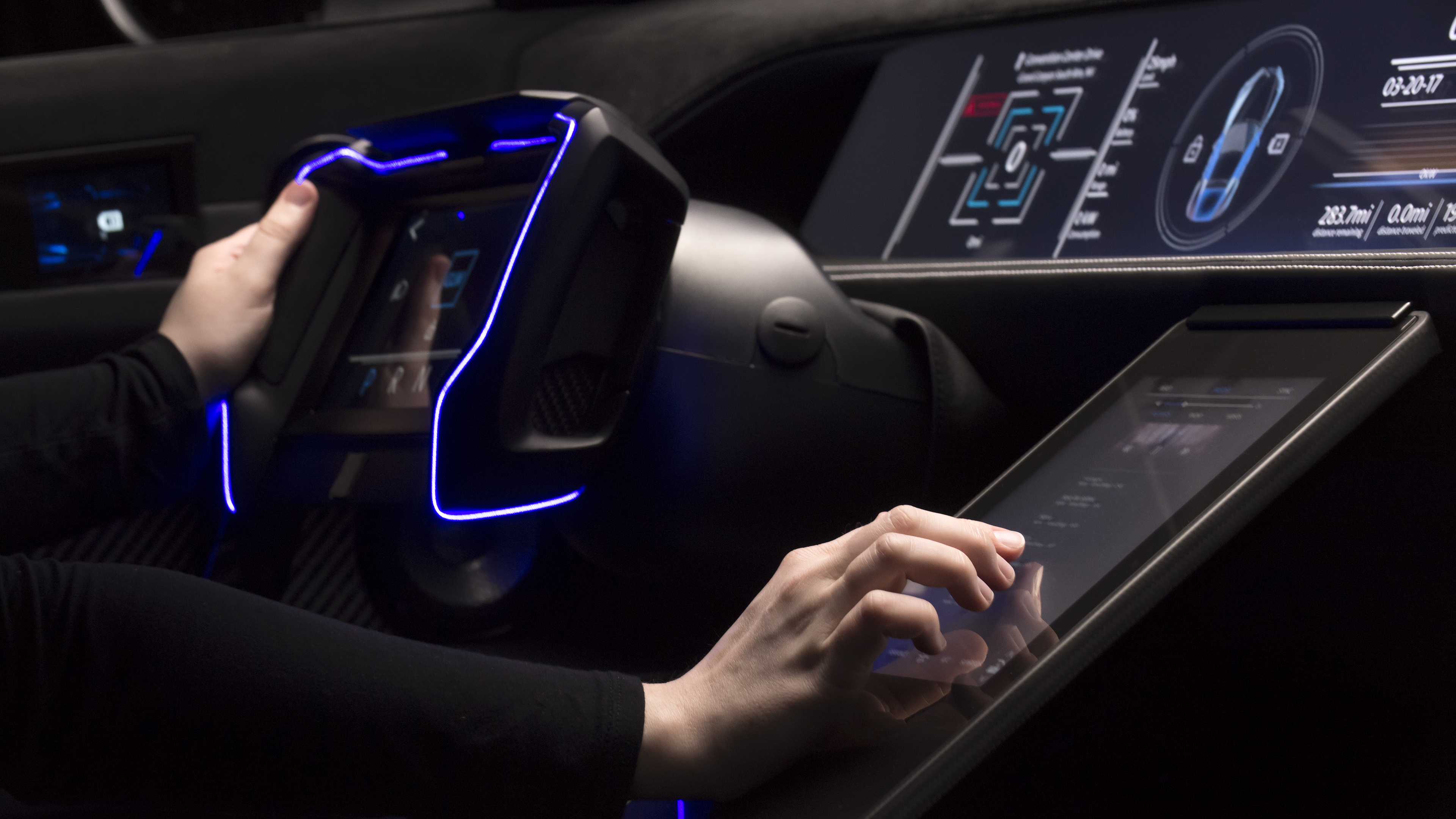A concept car features a Gorilla Glass interior console.