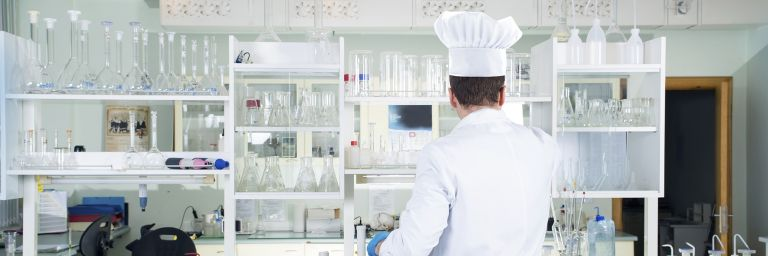 Lab tech with a chef's hat on